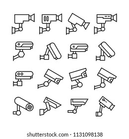 CCTV icons set, line theme