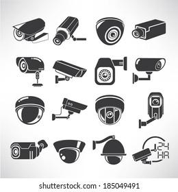 cctv icons, surveillance camera icons set