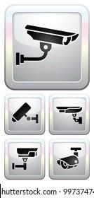 CCTV labels, video surveillance, set button security camera pictogram