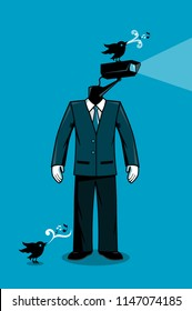 CCTV Man spying with birds character vector illustration