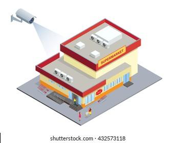 CCTV security camera on isometric illustration of Supermarket.