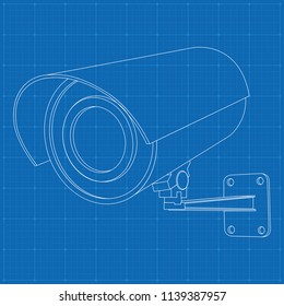 CCTV security camera. Outline drawing on blueprint bacground. Vector illustration