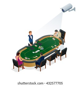 CCTV security camera of people playing poker at the casino. 3d isometric vector illustration.