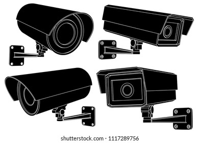 CCTV security camera set. Black outline vector illustration isolated on white background