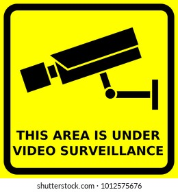 CCTV sign, security camera symbols, video surveillance symbols,This area is under video surveillance, yellow