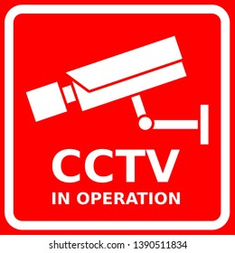 CCTV sign, security camera symbols, video surveillance symbols,CCTV in operation, red