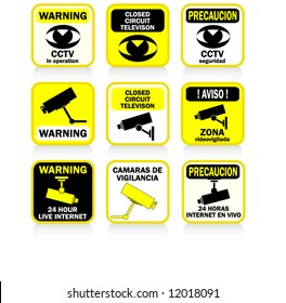 CCTV signs and warnings BLUE version