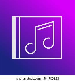 CD Album Vector Icon, The outlined symbol of musical note on cd album.Simple, modern flat vector illustration for mobile app, website or desktop app
