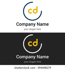CD business logo icon design template elements. Vector color sign.