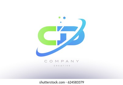 cd c d alphabet green blue swoosh letter company logo vector icon design template