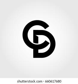 cd, c, d, dc, initial letter logo combination black