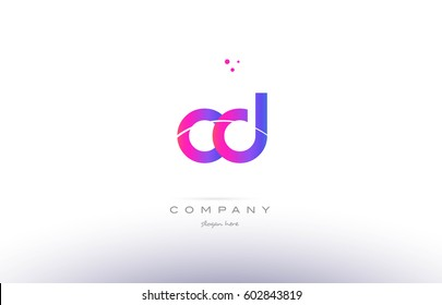 cd c d  pink purple modern creative gradient alphabet company logo design vector icon template