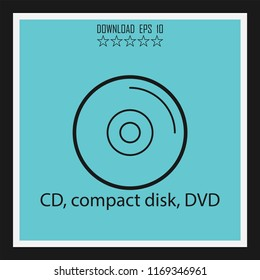 CD, compact disk, DVD vector icon