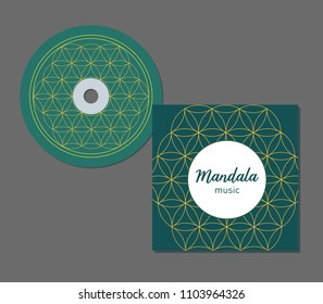 CD Cover Design with abstract geometry pattern. Floral