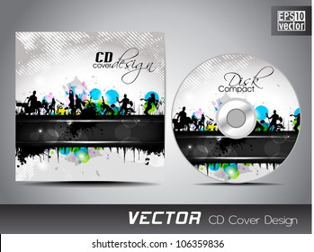CD cover design with musical concert background. EPS 10.