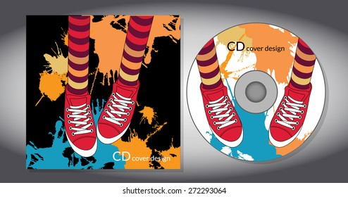 Cd cover design template. Abstract background with shoes. Vector illustration.