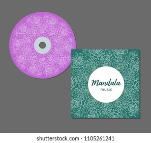 CD cover design template with floral mandala style. Arabic, indian, pakistan, asian motif. Vector illustration.
