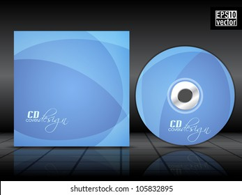 CD cover design with wave pattern in blue color. EPS 10.