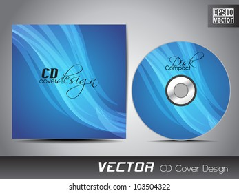 CD cover presentation design template with copy space and wave effect in blue color, editable EPS10. Vector illustration.