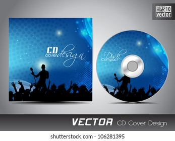 CD cover presentation design template with copy space and music concept. EPS 10.
