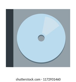 CD disc in individual plastic packaging vector flat material design isolated on white