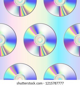 CD disk seamless pattern on holographic background