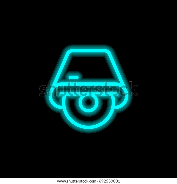 Cd drive blue glowing neon ui ux icon. Glowing sign logo vector