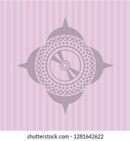 CD or DVD disc icon inside retro pink emblem