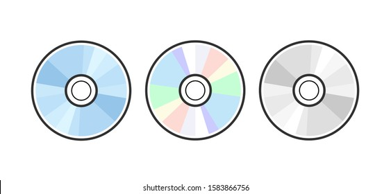 CD DVD icon disc vector blank illustration. Compact disk dvd music audio.