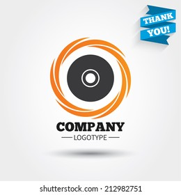 CD or DVD sign icon. Compact disc symbol. Business abstract circle logo. Logotype with Thank you ribbon. Vector