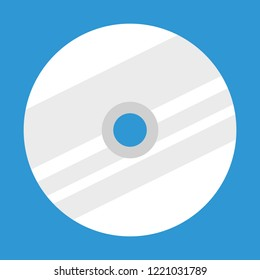Cd or dvd vector illustrated icon. Stylized symbol for compact disc on a blue background.