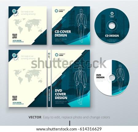 CD Envelope DVD Case Design Teal Stock Vector Royalty Free