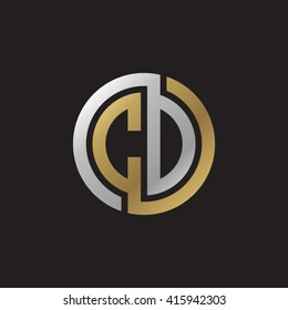 CD initial letters linked circle elegant logo golden silver black background
