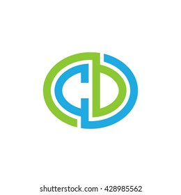 CD initial letters looping linked ellipse logo blue green