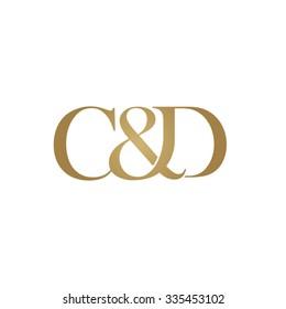 C&D Initial logo. Ampersand monogram golden logo