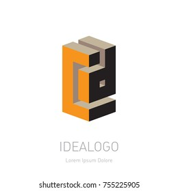 CD initial logo or monogram logotype. C and D Vector design element or 3d icon