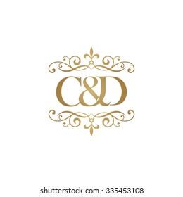C&D Initial logo. Ornament ampersand monogram golden logo