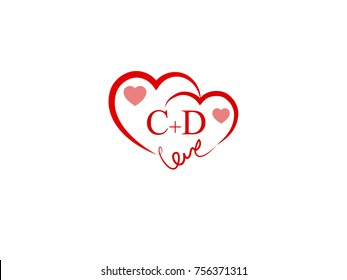 CD Initial wedding invitation, love logo template vector