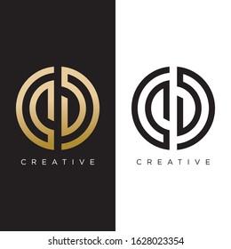 CD logo design vector luxury icon. circle design series