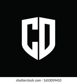 CD logo monogram with shield shape design template