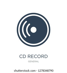 cd record icon vector on white background, cd record trendy filled icons from General collection, cd record vector illustration