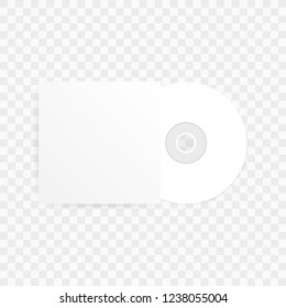 The CD-DVD compact disc and white empty paper case template with shadow on transparent background. Vector stock illustration