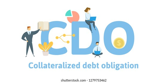 CDO, Collateralized Debt Obligation. Concept with keywords, letters and icons. Colored flat vector illustration. Isolated on white background.
