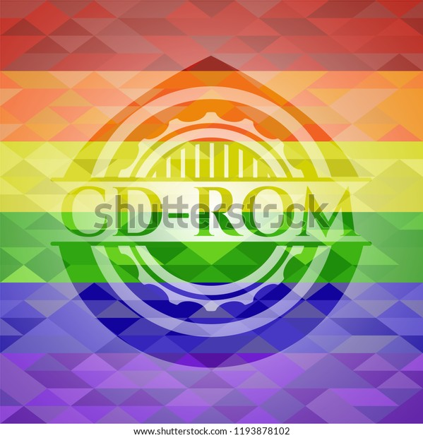 Cdrom Emblem On Mosaic Background Colors Stock Vector