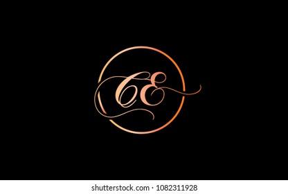 CE EC Circular Cursive Letter Initial Logo Design
