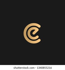 CE or EC logo vector. Initial letter logo, golden text on black background