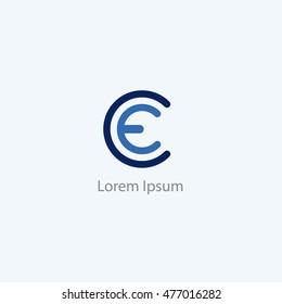 CE letters logo, C and E letter logo alphabet design.