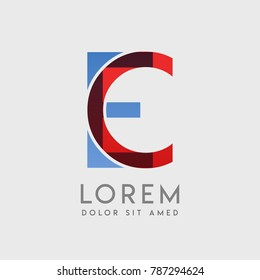 "CE logo letters with ""blue and red"" gradation"