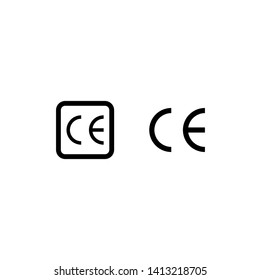 CE mark certification vector icon. Recycle CE for the packaging. Symbol CE vector.