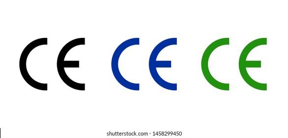CE mark icon symbol, european certificate. CE logo manufacturer product sign europeene label quality.